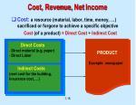 cost revenue net income