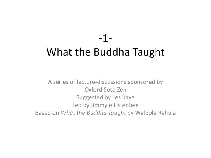 1 what the buddha taught