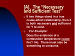 a the necessary and sufficient test