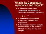 what is its conceptual importance and impact