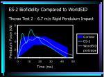 es 2 biofidelity compared to worldsid thorax test 2 6 7 m s rigid pendulum impact