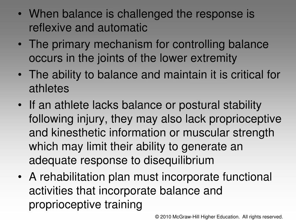 When balance is challenged the response is reflexive and automatic