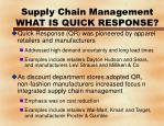 supply chain management what is quick response