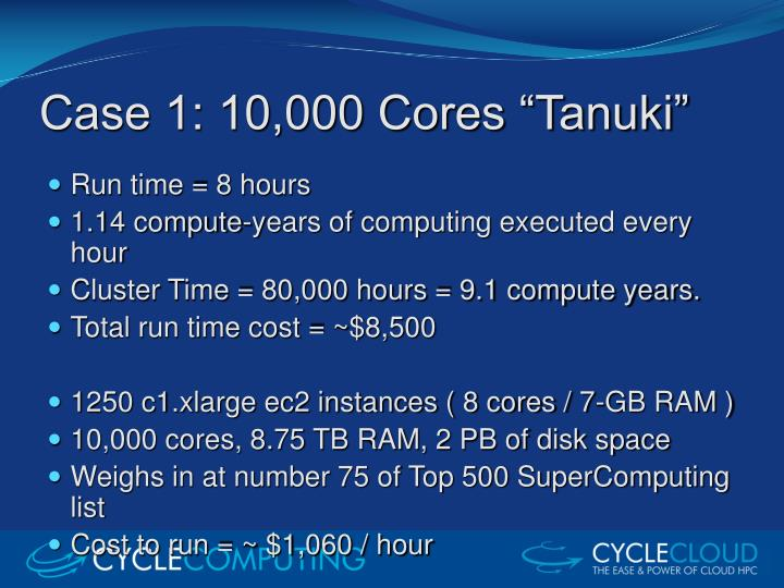 Case 1 10 000 cores tanuki