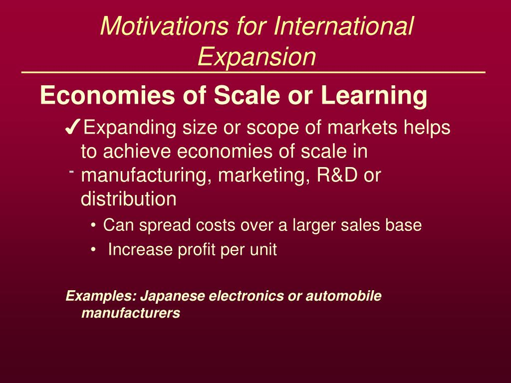 motivations for international expansion l.