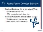 federal agency coverage examples