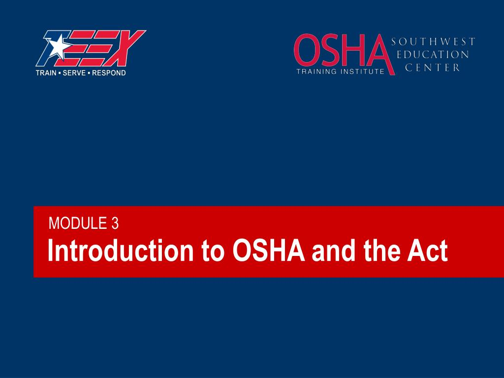 introduction to osha and the act l.