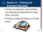 section 21 training and employee education