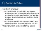 section 5 duties