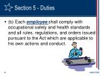 section 5 duties19