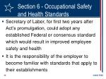 section 6 occupational safety and health standards
