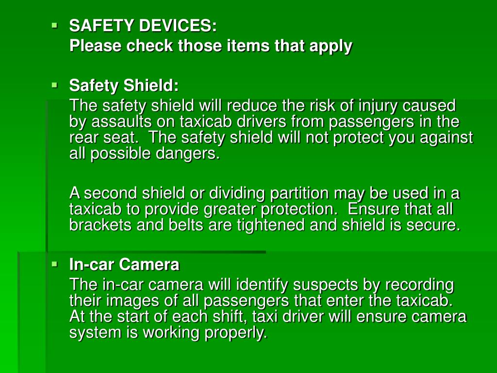 SAFETY DEVICES: