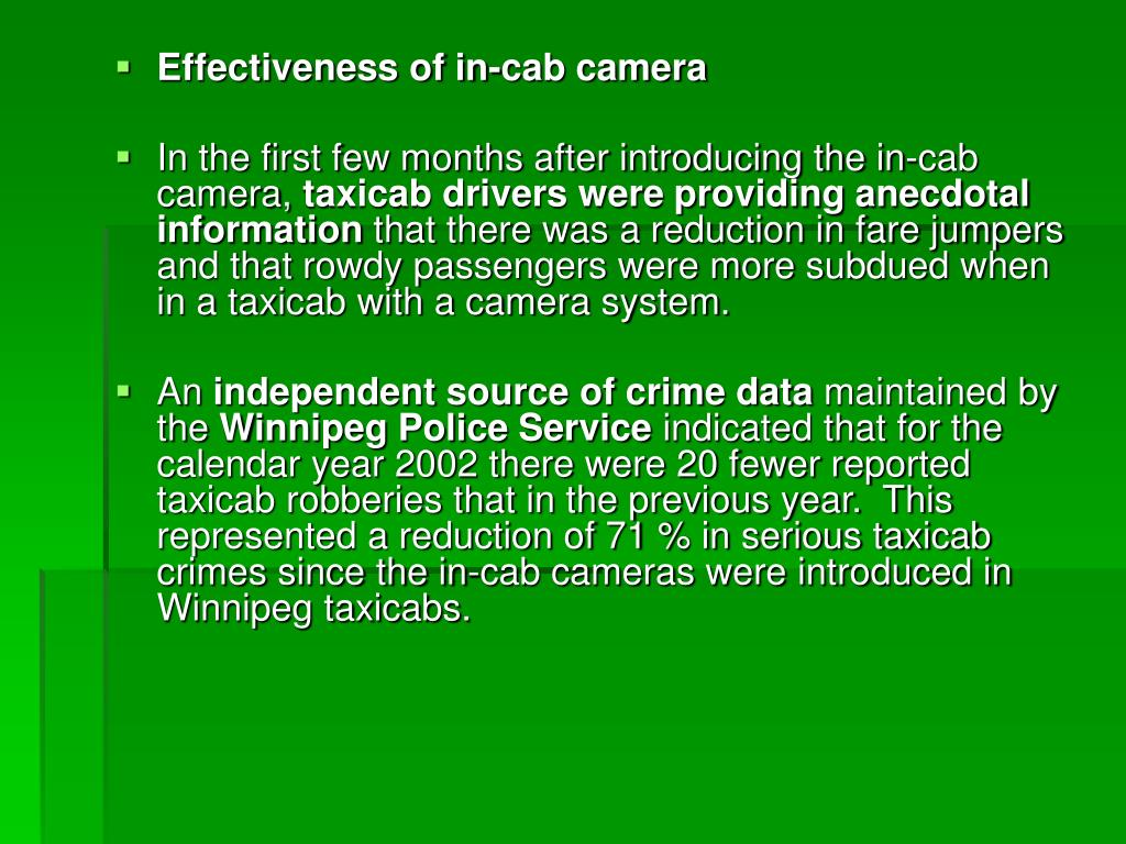 Effectiveness of in-cab camera