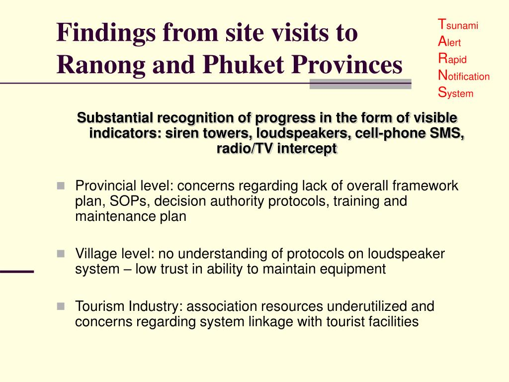 Findings from site visits to