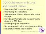 cqi collaboration with local and national partners