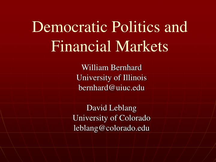 democratic politics and financial markets n.
