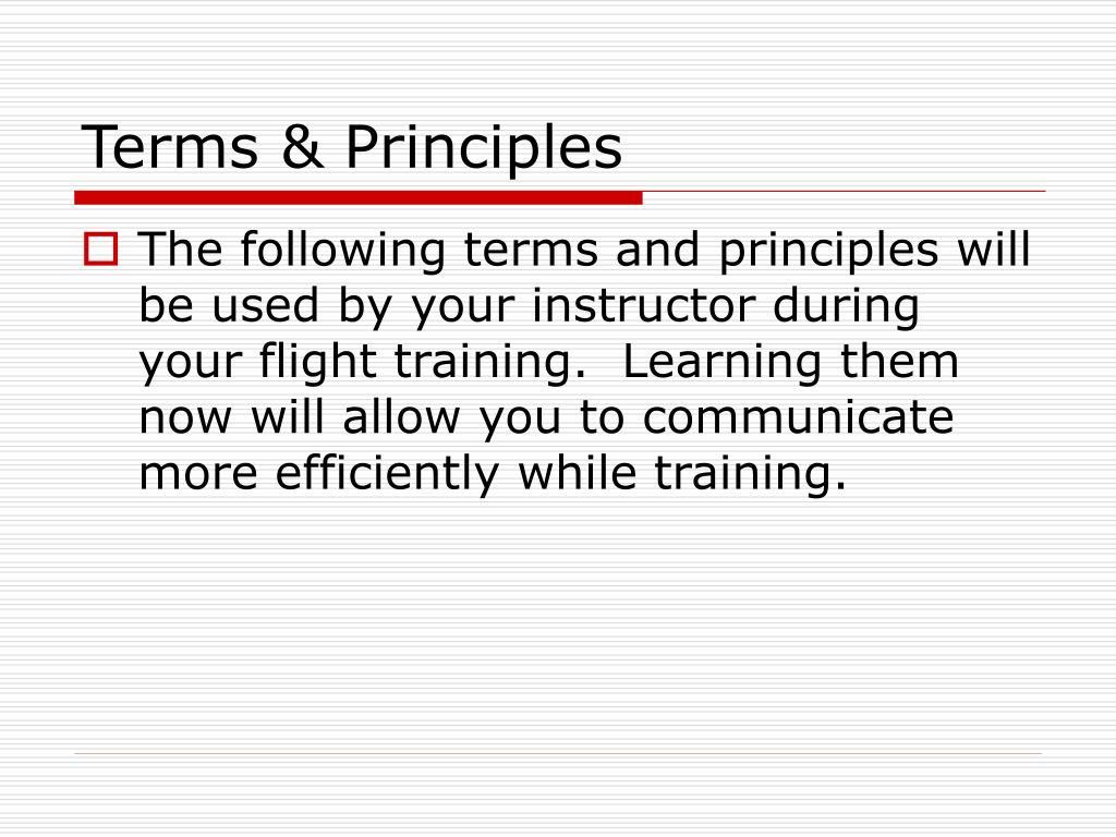 Terms & Principles