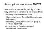 assumptions in one way anova