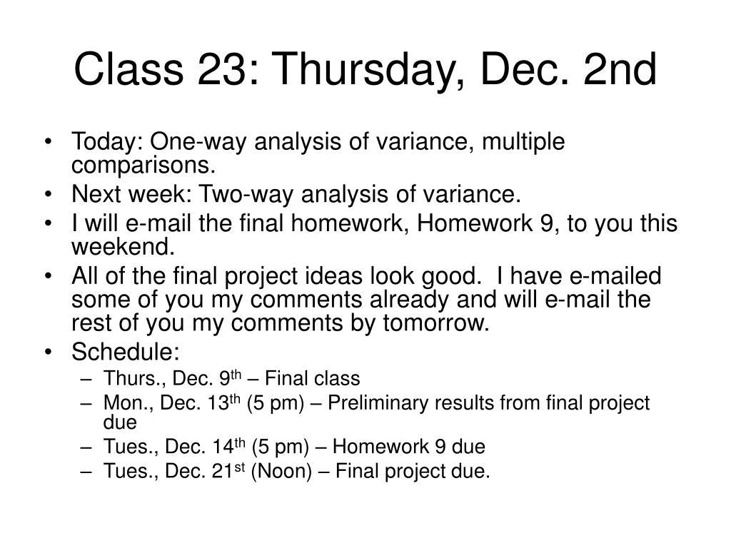 class 23 thursday dec 2nd