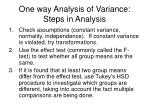 one way analysis of variance steps in analysis
