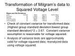 transformation of milgram s data to squared voltage level