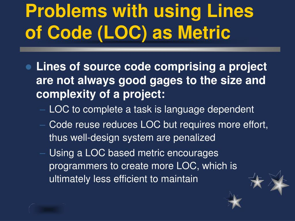 Problems with using Lines of Code (LOC) as Metric