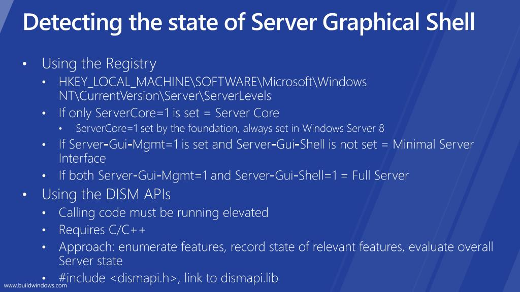 Detecting the state of Server Graphical Shell
