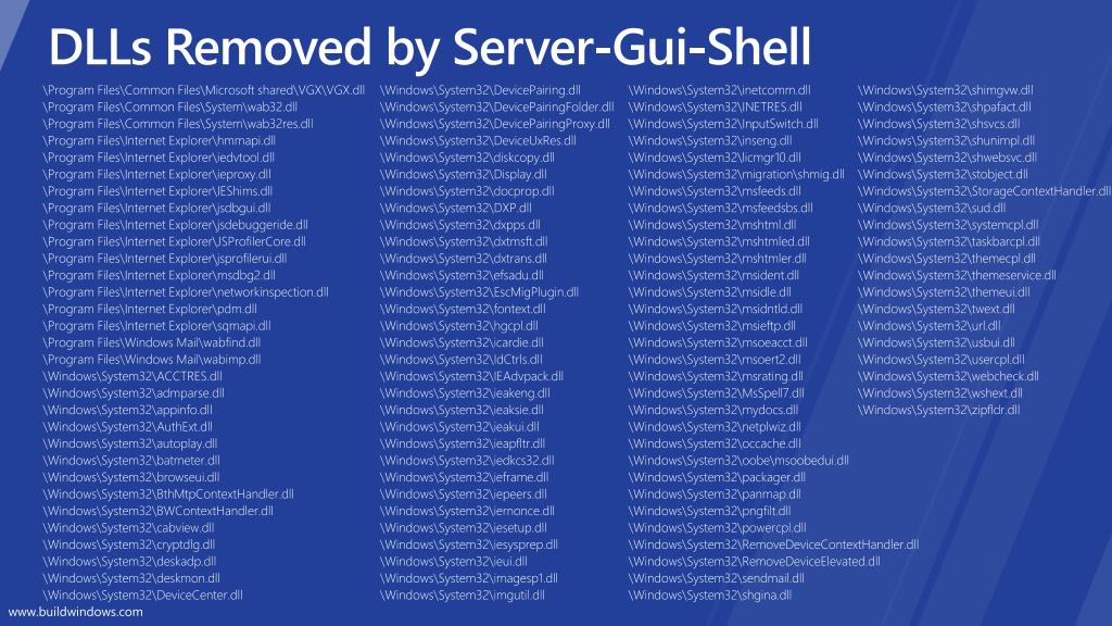 DLLs Removed by Server-Gui-Shell