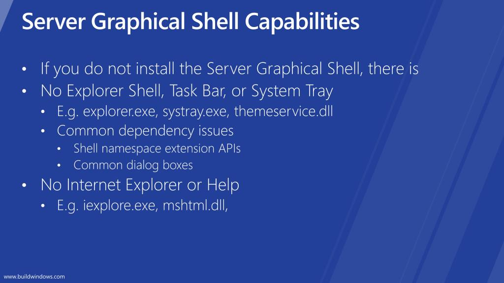 Server Graphical Shell Capabilities