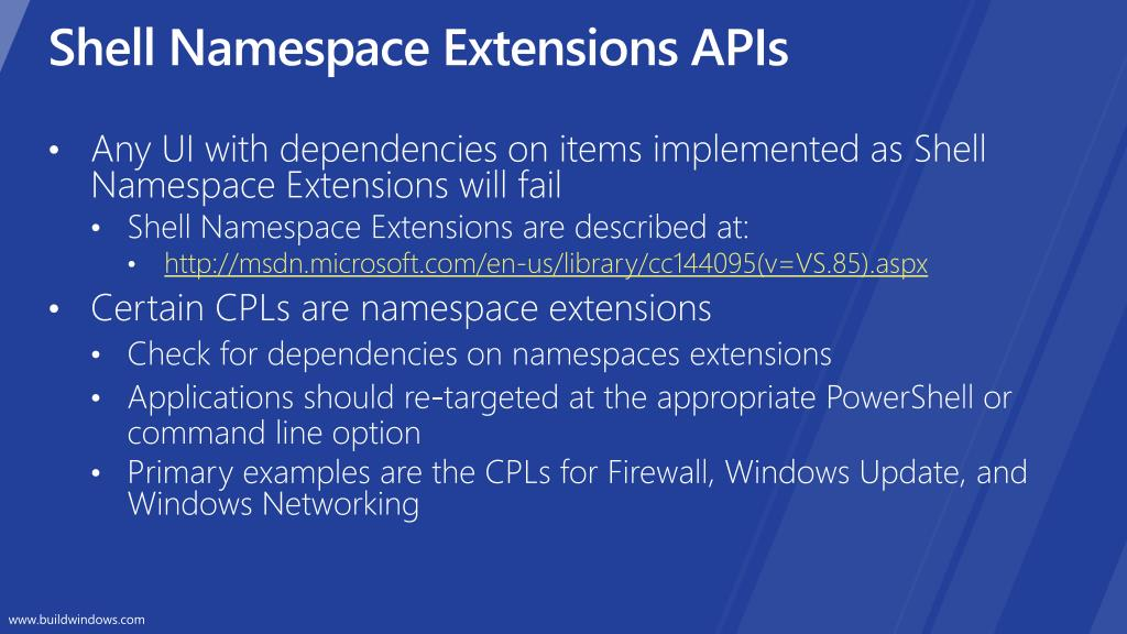Shell Namespace Extensions APIs