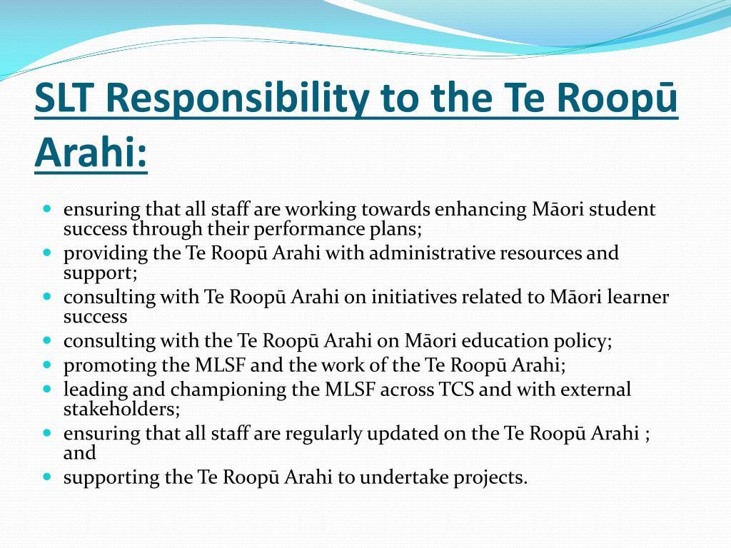 SLT Responsibility to the Te