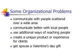 some organizational problems