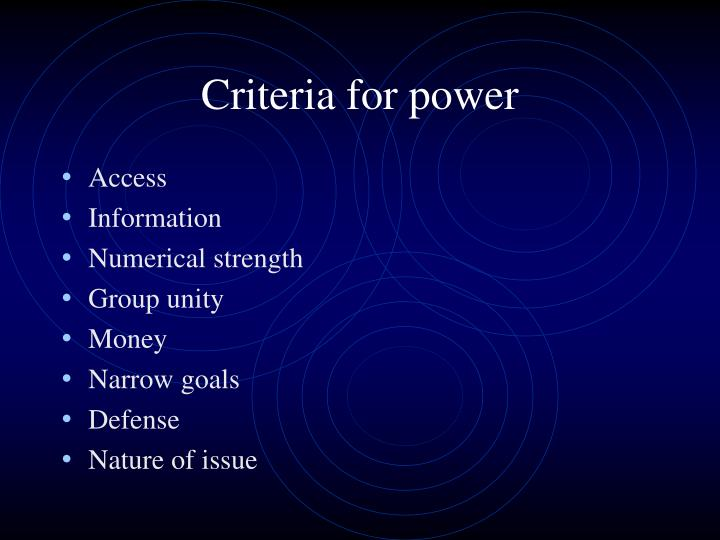 Criteria for power