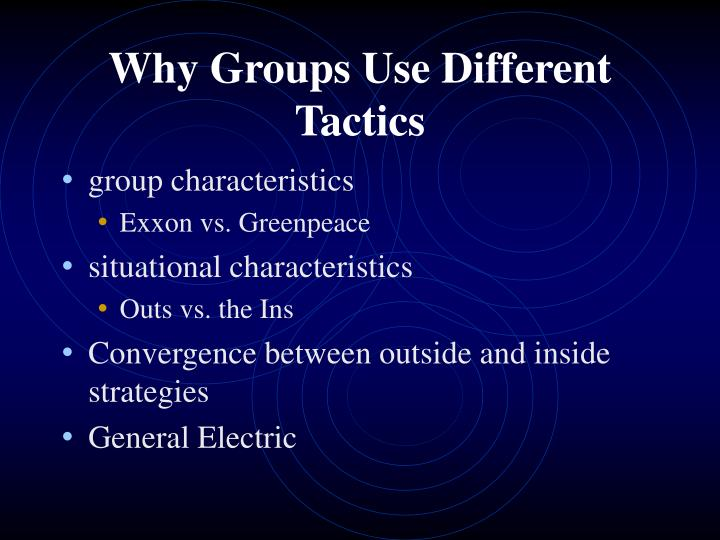 Why Groups Use Different Tactics