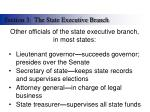 other officials of the state executive branch in most states