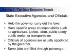 state executive agencies and officials
