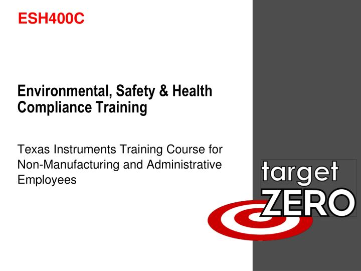 environmental safety health compliance training n.