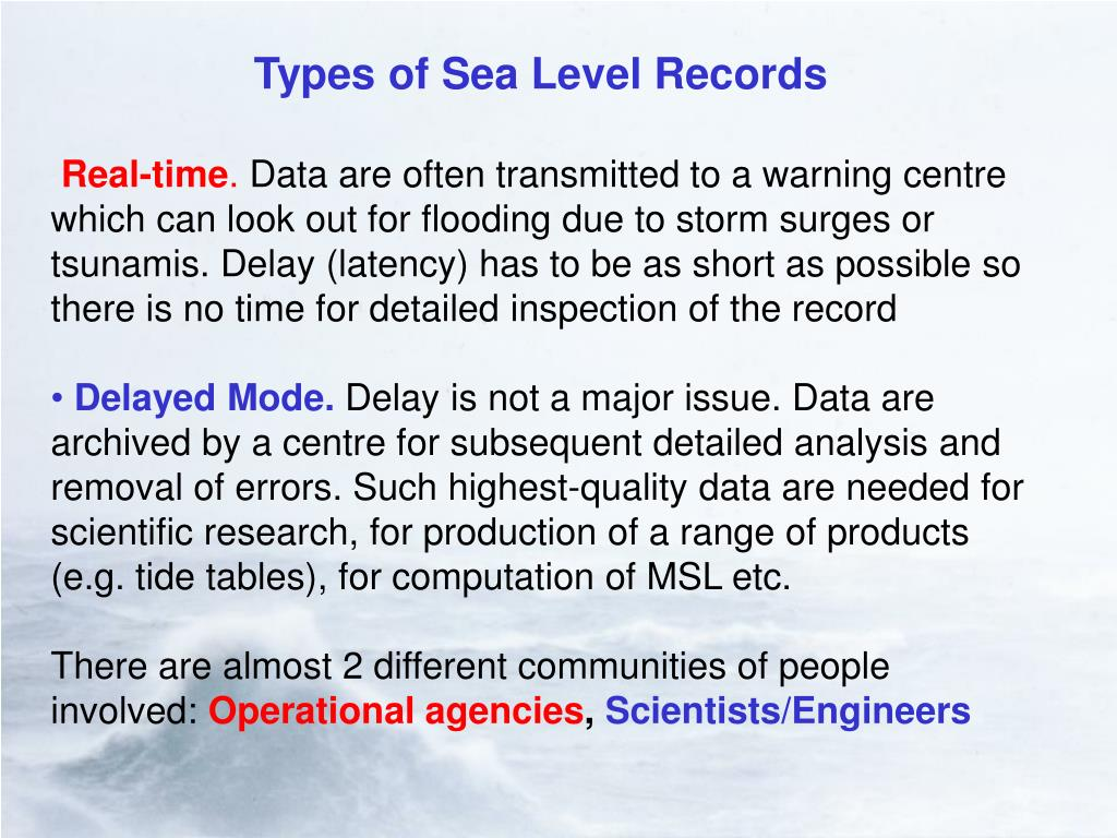Types of Sea Level Records