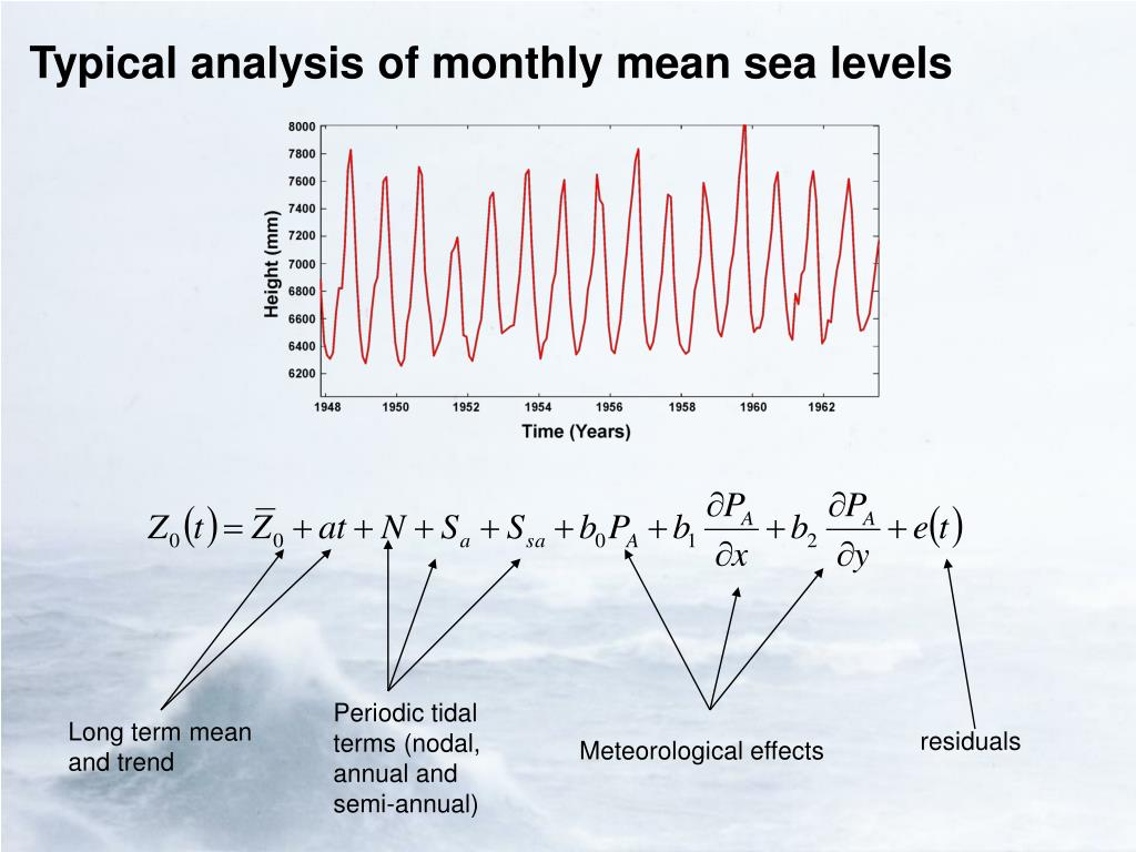 Typical analysis of monthly mean sea levels