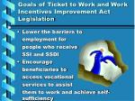 goals of ticket to work and work incentives improvement act legislation