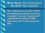 what does the consumer do with the ticket