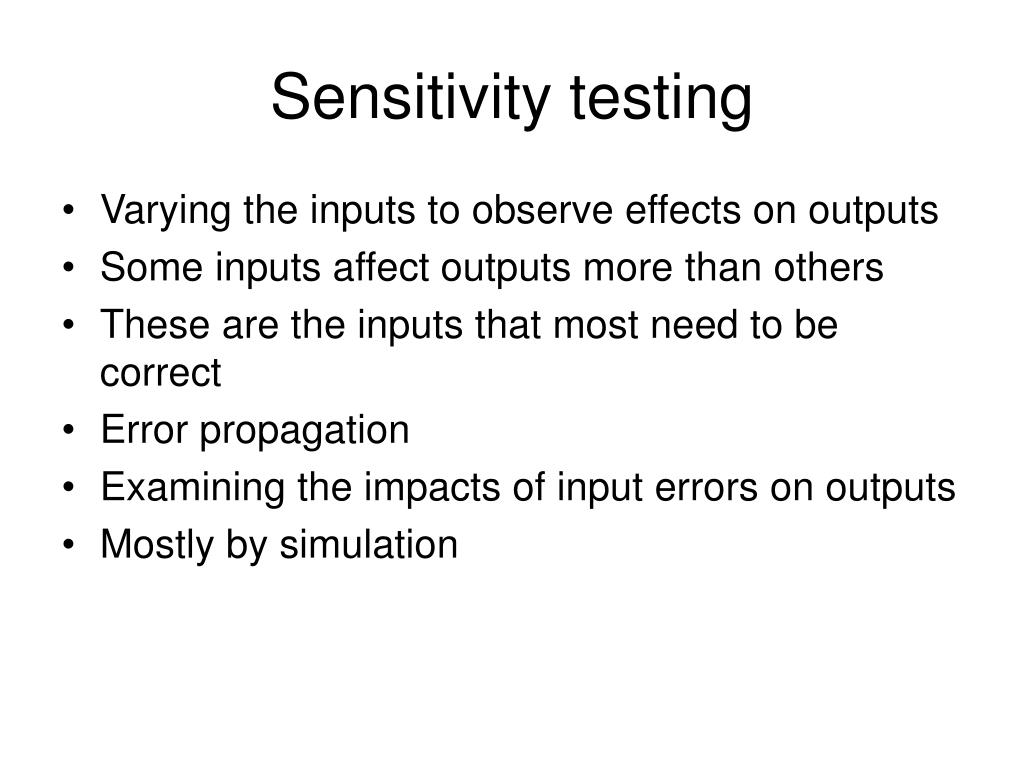 Sensitivity testing
