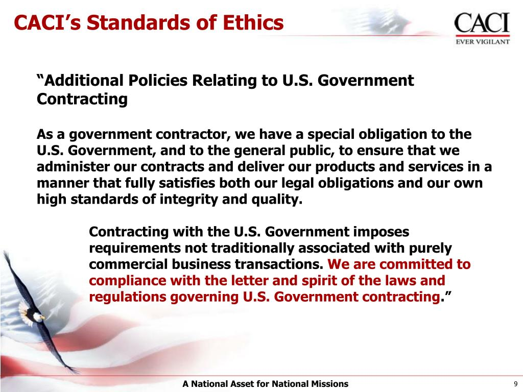 CACI's Standards of Ethics
