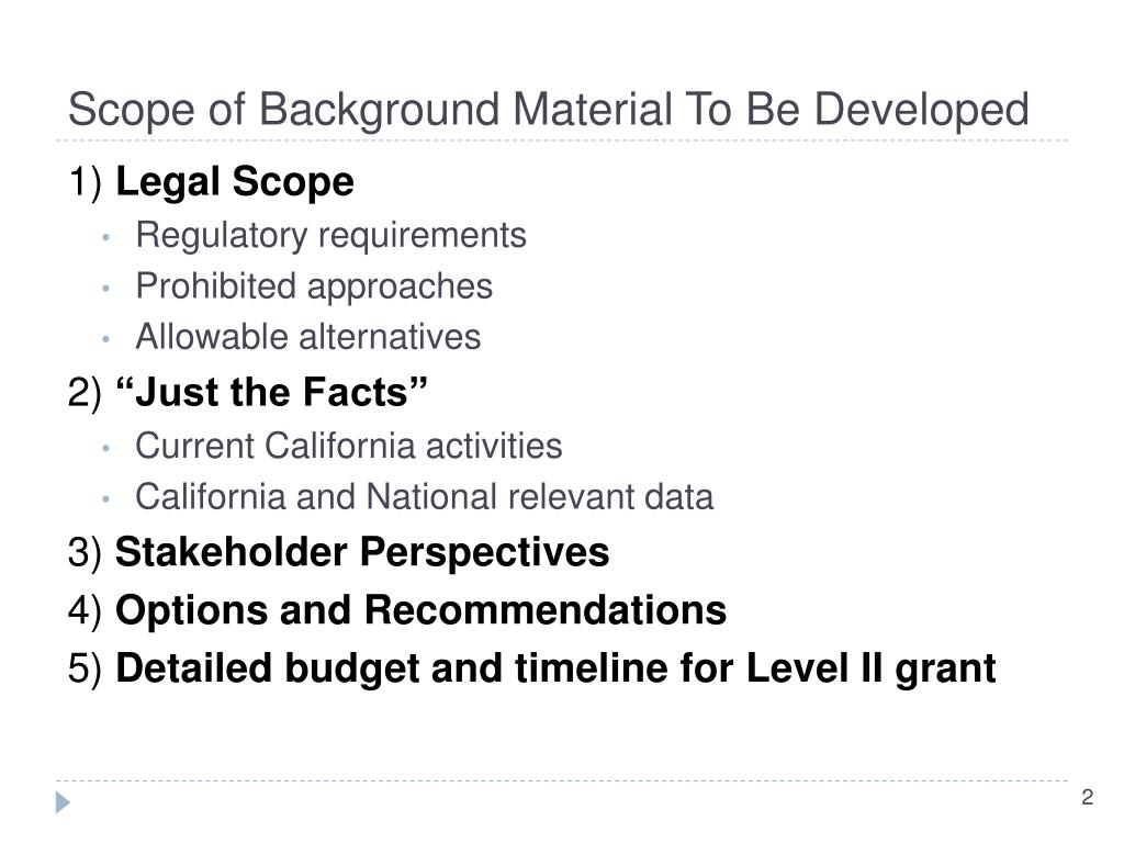 Scope of Background Material To Be Developed