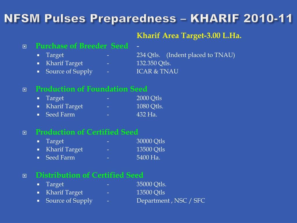 NFSM Pulses Preparedness – KHARIF 2010-11