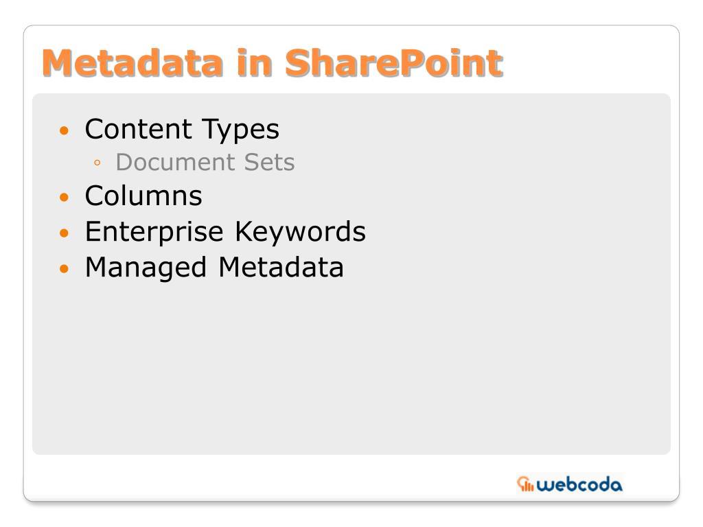 Metadata in SharePoint