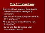 tier i instruction