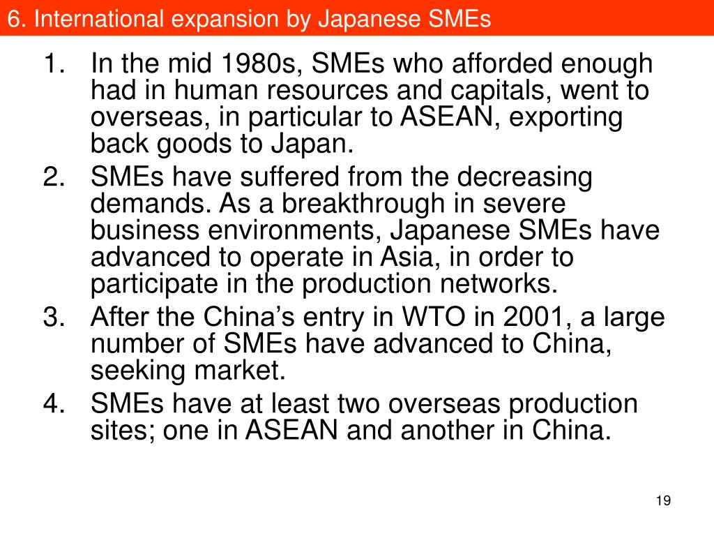 6. International expansion by Japanese SMEs