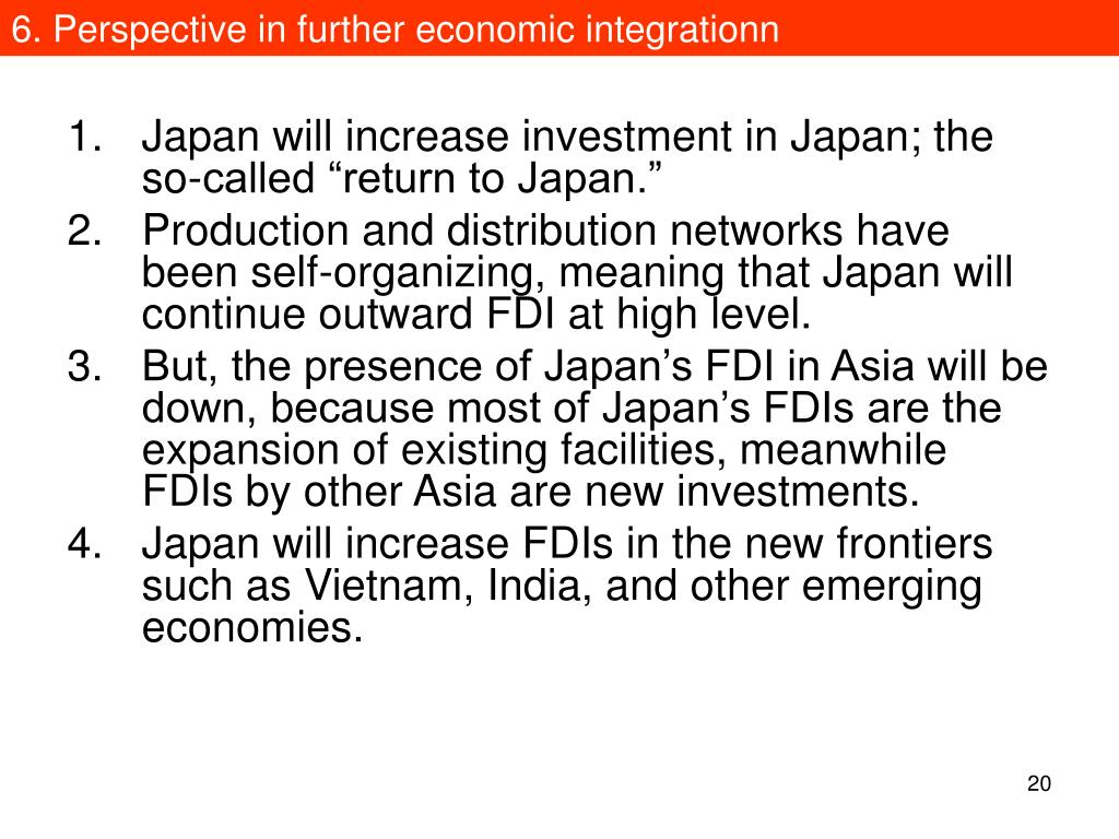 6. Perspective in further economic integrationn