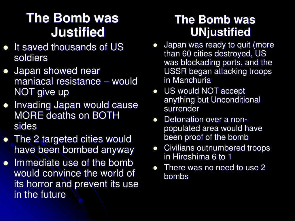 The Bomb was Justified